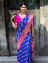 image of Blue Art Silk Fabric Occasion Wear Saree With Weaving Work And Elegant Blouse