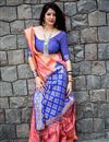 image of Weaving Designs On Pink Art Silk Party Wear Saree With Blouse