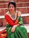 photo of Weaving Work On Green Designer Saree In Art Silk Fabric