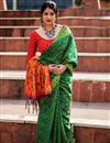 image of Weaving Work On Green Designer Saree In Art Silk Fabric