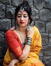 photo of Art Silk Mustard Designer Saree With Weaving Work And Blouse
