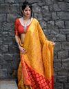 image of Art Silk Mustard Designer Saree With Weaving Work And Blouse