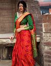 image of Weaving Designs On Art Silk Red Party Wear Saree With Blouse