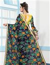 photo of Floral Print Multi Color Digital Work Net Saree With Banglori Silk Blouse