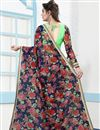 photo of Multi Color Party Wear Digital Floral Print Net Fabric Saree