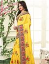 photo of Charming Yellow Color Silk Designer Saree With Embroidery Work