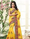 image of Designer Festive Wear Embroidered Yellow Color Saree