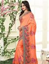 photo of Orange Color Embroidered Saree In Silk Fabric With Unstitched Blouse