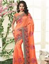 image of Silk Embroidered Designer Saree In Orange Color With Unstitched Blouse