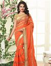 image of Charming Orange Color Georgette Designer Saree With Embroidery Work