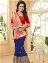 photo of Pink And Blue Color Embroidered Party Wear Saree With Unstitched Blouse