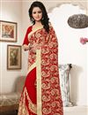 photo of Designer Red Color Gorgeous Georgette Saree With Embroidery Work