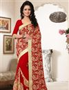 image of Designer Red Color Gorgeous Georgette Saree With Embroidery Work