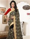 image of Black Color Embroidered Bemberg Saree With Designer Unstitched Blouse