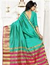 photo of Party Wear Art Silk Sea Green Color Saree With Unstitched Blouse
