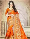 image of Orange Color Embroidered Designer Saree With Unstitched Silk Blouse
