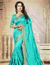 image of Cyan Color Festive Wear Embroidered Saree With Unstitched Art Silk Blouse