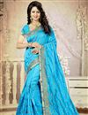 image of Sky Blue Color Embroidered Designer Saree With Unstitched Art Silk Blouse