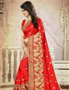 photo of Silk Festive Wear Embroidered Saree In Stylish Red Color