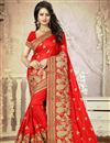image of Silk Festive Wear Embroidered Saree In Stylish Red Color