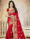 image of Designer Embroidered Beautiful Red Color Art Silk Saree