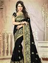image of Black Color Festive Wear Embroidered Saree With Unstitched Art Silk Blouse