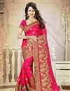 image of Designer Embroidered Beautiful Pink Color Silk Saree
