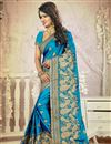 photo of Sky Blue Color Festive Wear Embroidered Saree With Unstitched Silk Blouse
