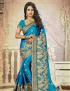 image of Silk Festive Wear Embroidered Saree In Stylish Sky Blue Color