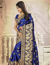 photo of Blue Color Embroidered Designer Saree With Unstitched Silk Blouse