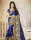 image of Blue Color Gorgeous Party Wear Designer Saree In Silk Fabric