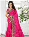image of Pink Color Classy Embroidered Saree In Georgette Fabric