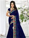 image of Gorgeous Blue Color Embroidered Designer Saree In Georgette Fabric