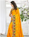 photo of Marvelous Yellow Color Designer Georgette Saree With Embroidery Work