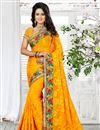 image of Marvelous Yellow Color Designer Georgette Saree With Embroidery Work