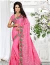 image of Pink Color Classy Designer Embroidered Saree In Georgette Fabric