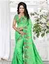 image of Lovely Georgette Designer Saree In Green Color With Embroidered Border