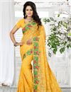 image of Gorgeous Yellow Color Embroidered Designer Saree In Georgette Fabric
