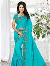 image of Marvelous Cyan Color Designer Georgette Saree With Embroidery Work