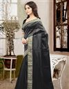 photo of Mesmerizing Black Color Designer Silk Saree With Unstitched Silk Blouse