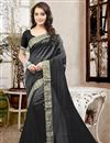 image of Graceful Black Color Party Wear Designer Saree In Silk Fabric