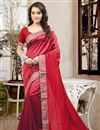 image of Graceful Red Color Party Wear Designer Saree In Silk Fabric