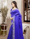 photo of Beautiful Blue Color Festive Wear Designer Silk Saree With Unstitched Silk Blouse