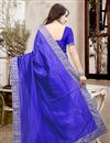 picture of Beautiful Blue Color Festive Wear Designer Silk Saree With Unstitched Silk Blouse