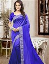 image of Beautiful Blue Color Festive Wear Designer Silk Saree With Unstitched Silk Blouse