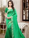 image of Elegant Green Color Party Wear Saree In Silk Fabric