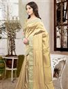 photo of Lovely Silk Fabric Designer Saree In Cream Color With Unstitched Silk Blouse