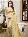 image of Lovely Silk Fabric Designer Saree In Cream Color With Unstitched Silk Blouse