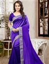 image of Mesmerizing Blue Color Designer Silk Saree With Unstitched Silk Blouse