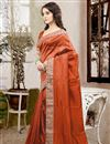 photo of Mesmerizing Orange Color Designer Silk Saree With Unstitched Silk Blouse
